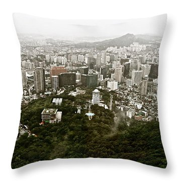 Misty Seoul Throw Pillow