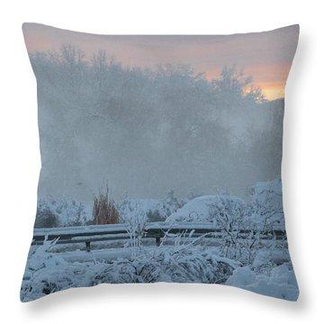 Misty Snow Morning Throw Pillow