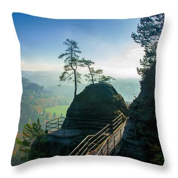 Misty Sunrise On Neurathen Castle Throw Pillow
