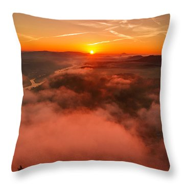 Misty Sunrise On The Lilienstein Throw Pillow