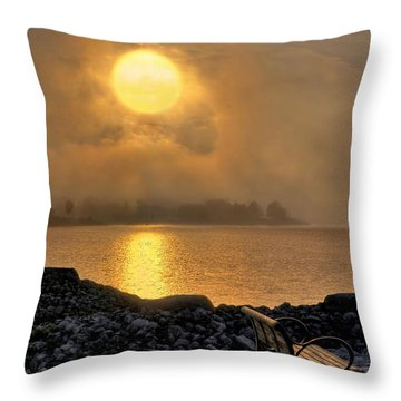 Misty Sunset At The Bay Throw Pillow