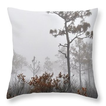 Misty Tree Throw Pillow