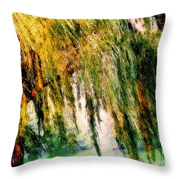 Misty Weeping Willow Tree Dreams Throw Pillow