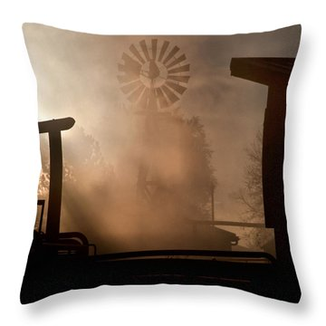 Misty Windmill Throw Pillow by Steven Reed