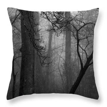 Misty Woods Throw Pillow by Rebecca Davis