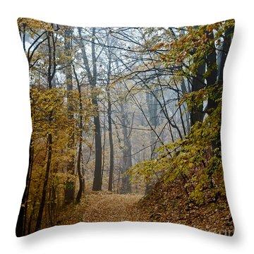 Misty Yellow Throw Pillow by Barbara McMahon