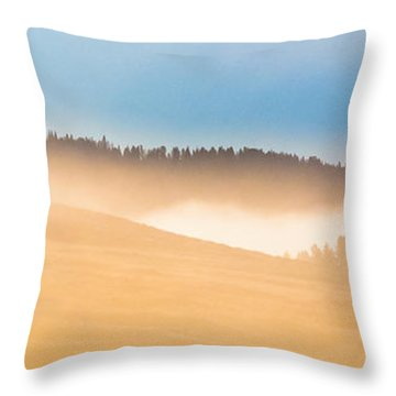 Misty Yellowstone   Throw Pillow