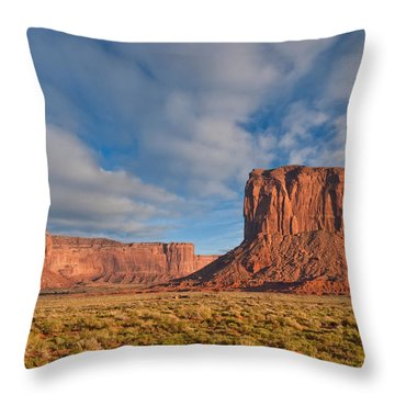 Throw Pillow featuring the photograph Mitchell Butte And Gray Whiskers In The Evening Light by Jeff Goulden