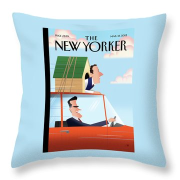 Mitt Romney Driving With Rick Santorum In A Dog Throw Pillow