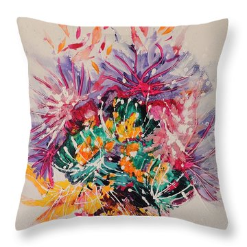 Throw Pillow featuring the painting Mixed Coral by Lyn Olsen