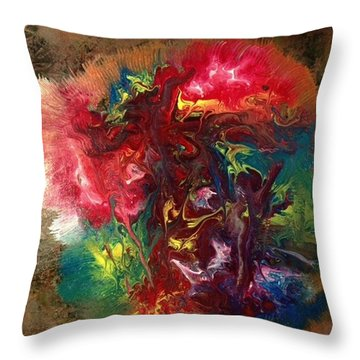 Mixed Media Abstract Post Modern Art By Alfredo Garcia Bizarre Throw Pillow