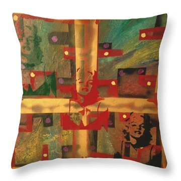 Mixed Media Abstract Post Modern Art By Alfredo Garcia The Blond Bombshell 3 Throw Pillow