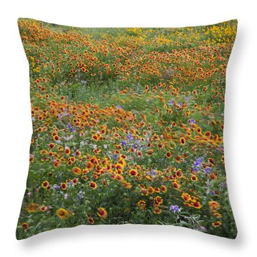 Mixed Wildflowers Blowing Throw Pillow