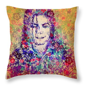 Mj Floral Version 3 Throw Pillow