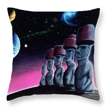 Moai On The Small Planet Throw Pillow