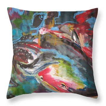Mobie Joe The Whale-original Abstract Whale Painting Acrylic Blue Red Green Throw Pillow by Seon-Jeong Kim