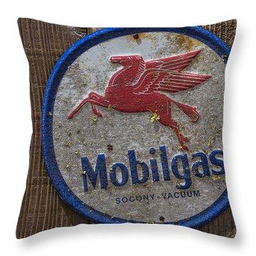 Mobil Gas Sign Throw Pillow