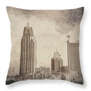 Mobile Alabama Black And White Throw Pillow