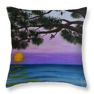 Mobile Bay Sunset Throw Pillow by Melvin Turner