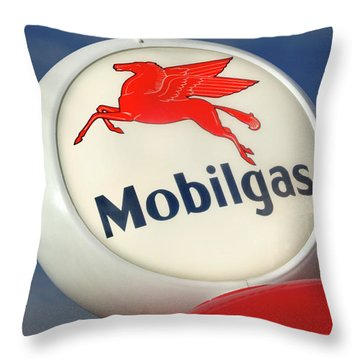 Mobilgas Globe Throw Pillow by Mike McGlothlen