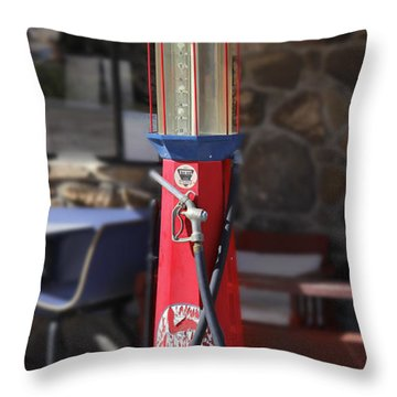 Mobilgas Visible Gas Pump Throw Pillow by Mike McGlothlen