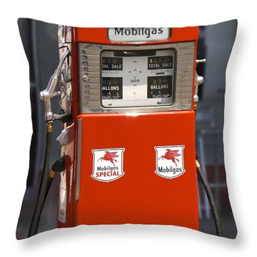 Mobilgas - Wayne Double Gas Pump Throw Pillow