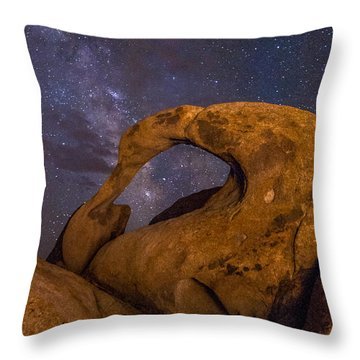 Mobius Arch And Milky Way Throw Pillow by Cat Connor