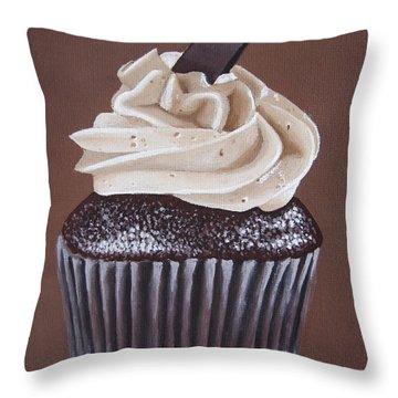 Mocha Cupcake Throw Pillow by Kayleigh Semeniuk