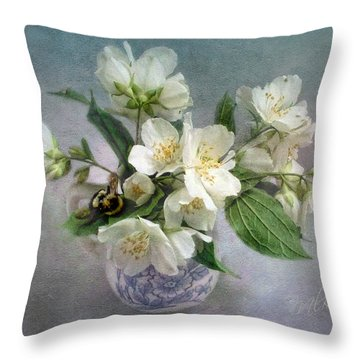 Sweet Mock Orange Blossom Bouquet With Bumble Bee  Throw Pillow by Louise Kumpf