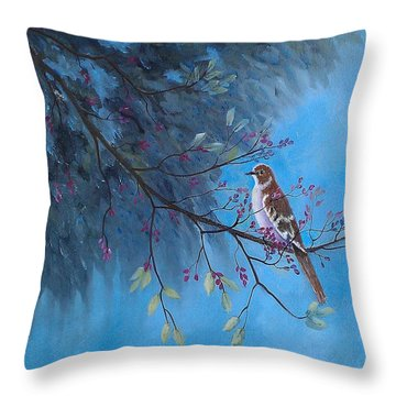 Mockingbird Happiness Throw Pillow by Suzanne Theis