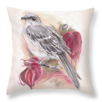 Mockingbird In Autumn Dogwood Throw Pillow by MM Anderson
