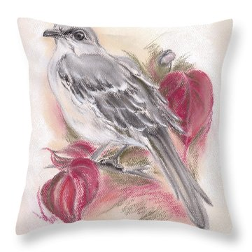 Mockingbird In Autumn Dogwood Throw Pillow