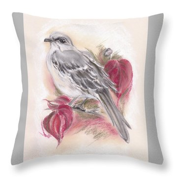 Mockingbird In Autumn Dogwood Throw Pillow