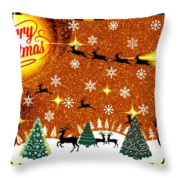 Mod Cards - Reindeer Games - Merry Christmas V Throw Pillow