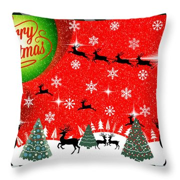 Mod Cards - Reindeer Games - Merry Christmas Throw Pillow