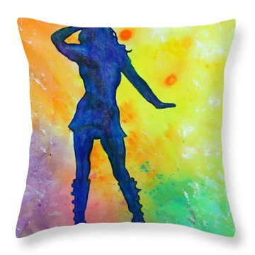 Mod Girl Female Silhouette Abstract Throw Pillow by Bob Baker