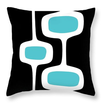 Mod Pod 2 White On Black Throw Pillow