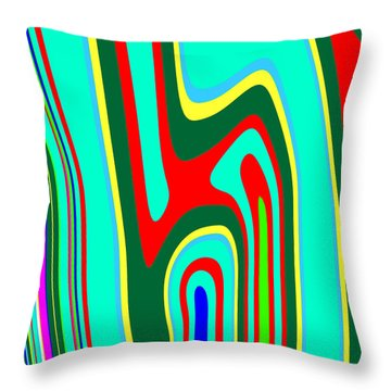 Throw Pillow featuring the painting Mod Stripes  C2014 by Paul Ashby