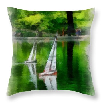 Model Boat Basin Central Park Throw Pillow by Amy Cicconi