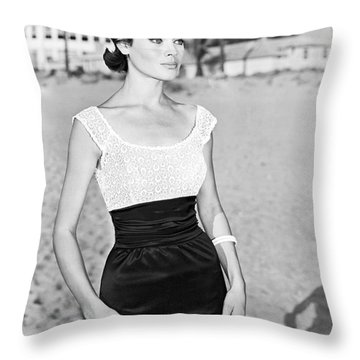 Model In A Mini Skirt Throw Pillow