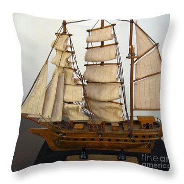 Model Sailing Ship Throw Pillow