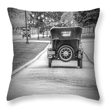 Model T Ford Down The Road Throw Pillow