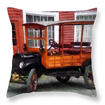 Model T Station Wagon Throw Pillow by Susan Savad