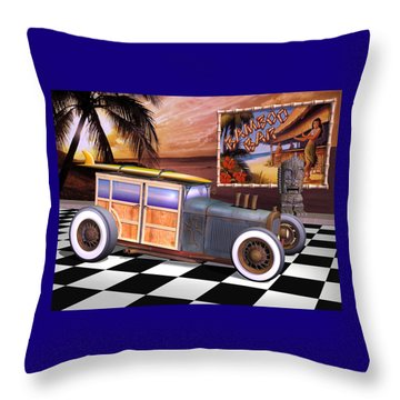 Model T Surf Woody Throw Pillow