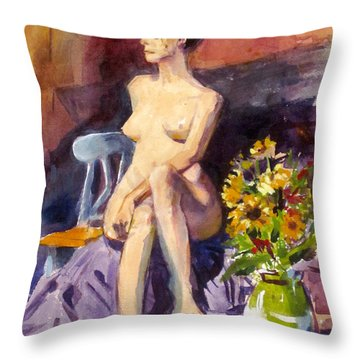 Model With Flowers Throw Pillow