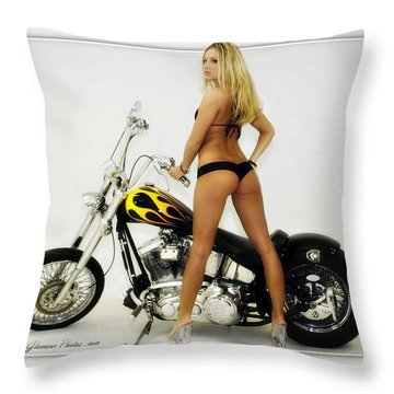 Models And Motorcycles_j Throw Pillow