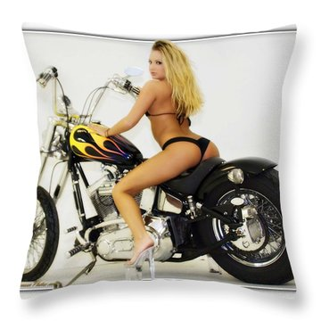 Models And Motorcycles_k Throw Pillow