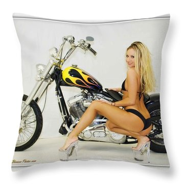 Models And Motorcycles_l Throw Pillow