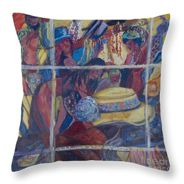 Throw Pillow featuring the painting Models Dressing In A Hat Store Window by Avonelle Kelsey