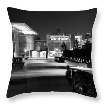Modern Architecture Night Black White Throw Pillow